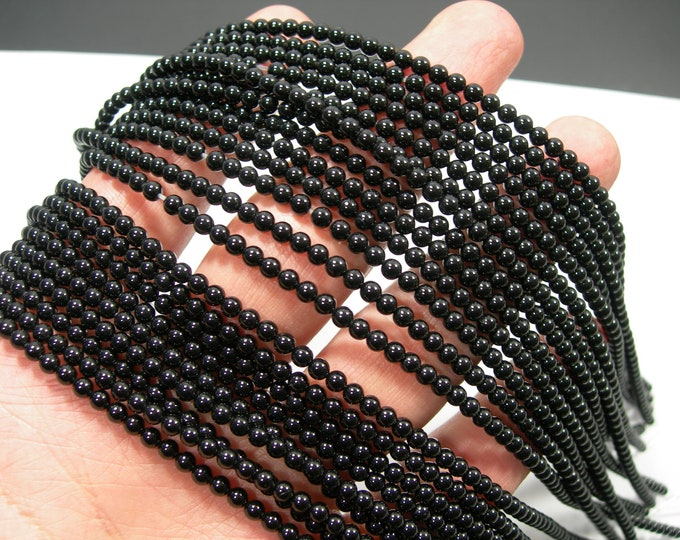 Black Onyx - 3 mm round beads - full strand - 124 beads - AA quality - RFG949
