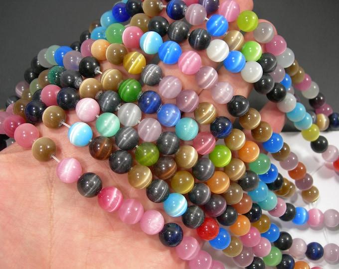 Cat's Eye - 10 mm round beads - full strand - 39 beads - Multi colored - RFG2036