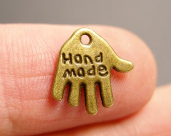 24 hand made charms - 24 pcs  antique bronze brass hand made charms - BAZ73