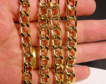 Gold chain - lead free nickel free won't tarnish - 1 meter - 3.3 feet - aluminum chain - curb chain