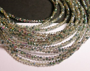 Crystal - rondelle  faceted 3mm x  2mm beads - 200 beads  - AA quality   - green watermelon - ab finish - full strand - CAA2G61
