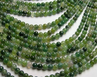 Moss agate - 4.5mm round beads - full strand - Ab quality - 85 beads - RFG933A