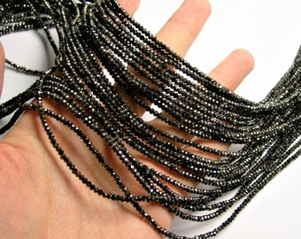 Crystal - rondelle faceted 3mm x  2mm beads - 198 beads - AA quality - Black charcoal  - CAA2G179