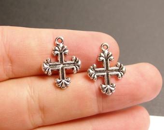 24 cross - antique silver tone cross charms  - 24 pcs -  ASA110