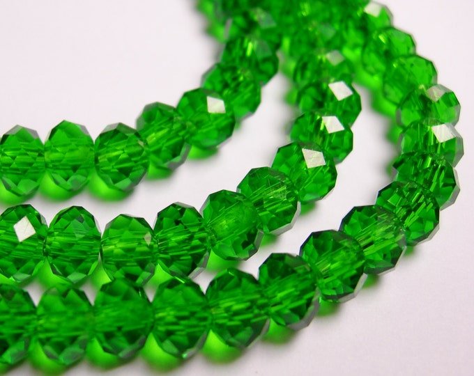 Crystal faceted rondelle -  98 pcs -  6 mm - AA quality - green - dark green  - full strand - CRV113