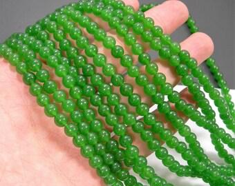 Jade - 6 mm round beads - full strand - 62 beads - color - green Jade - RFG1163
