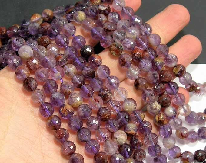 Super seven - Cacoxenite amethyst - 8mm faceted - full strand - 49 beads - Purple Rutilated Quartz - RFG2000