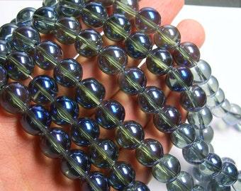 Crystal round 12mm - 26 beads  - 1 strand -  smoky topaz blue - CRV131