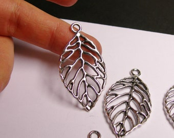 12 Leaf charms  silver color - 12 pcs - 48mm by 24mm - NAZ15