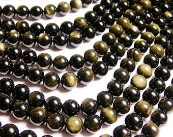 Golden Black Obsidian - 12 mm round beads -1 full strand - 33 beads - RFG233