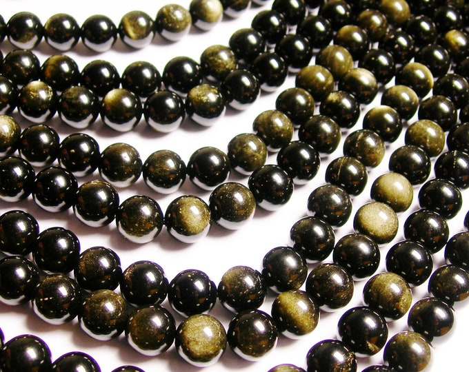 Golden Black Obsidian - 12 mm round beads -1 full strand - 33 beads - RFG233