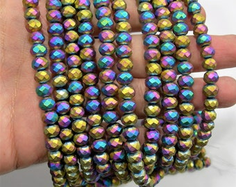 Crystal faceted rondelle - 70 pcs - 8 mm - AA quality - full strand - full rainbow mystic  - RFG1959