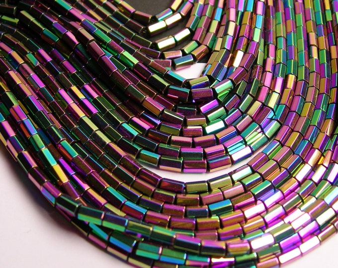Hematite Rainbow - 5mm tube hexagon beads -1 full strand - 82 beads - AA quality - PHG46