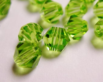 Crystal 4mm Bicone 100 pcs AA quality --sparkle peridot green