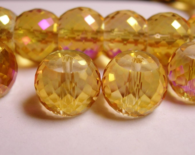 Crystal faceted rondelle barrel - 6  pcs - 11mm by 8.5mm - AA quality - Ab finish - golden sparkle - AAABC8