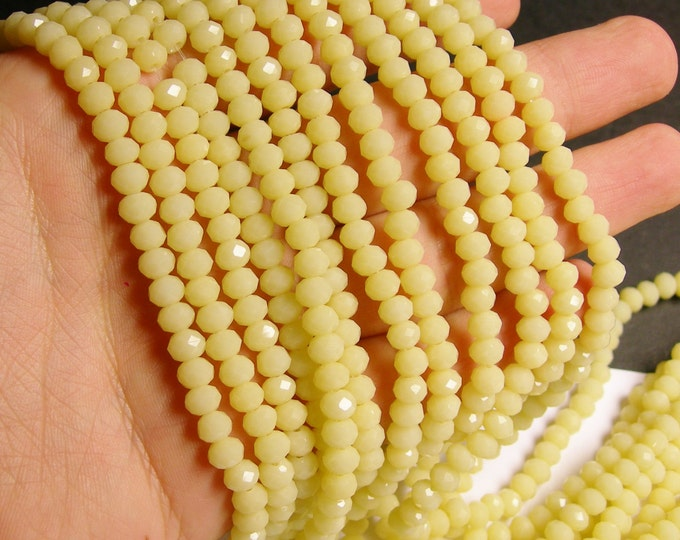 Crystal faceted rondelle - 90 beads - 6 mm - A quality - matte yellow - full strand - DAC47