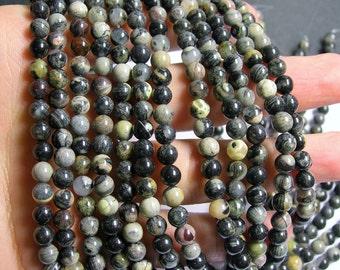 Black Silver leaf Jasper - 6 mm round beads -1 full strand - 67 beads - A quality - RFG483