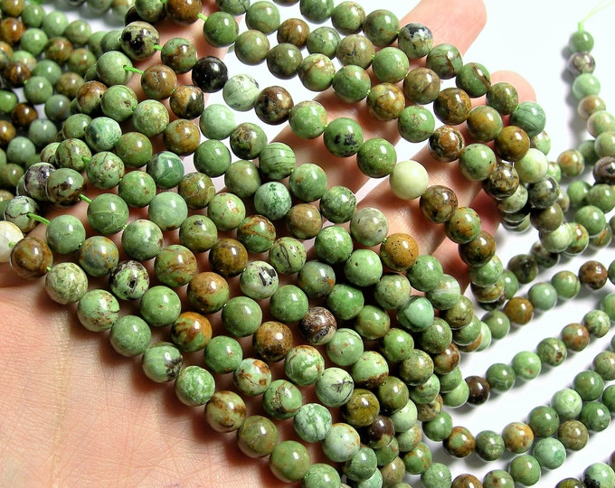 African Green opal Chalcedony - 8mm round beads - full strand - 49 beads - RFG1428