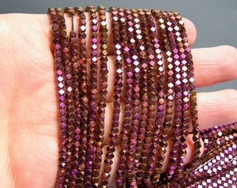 Hematite purple golden - 3mm faceted square - full strand - 142 beads - AA quality - PHG184