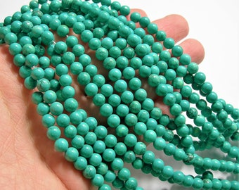 Howlite turquoise - 6mm beads -  full strand -  65 pcs - A Quality - WHOLESALE DEAL  - RFG1557