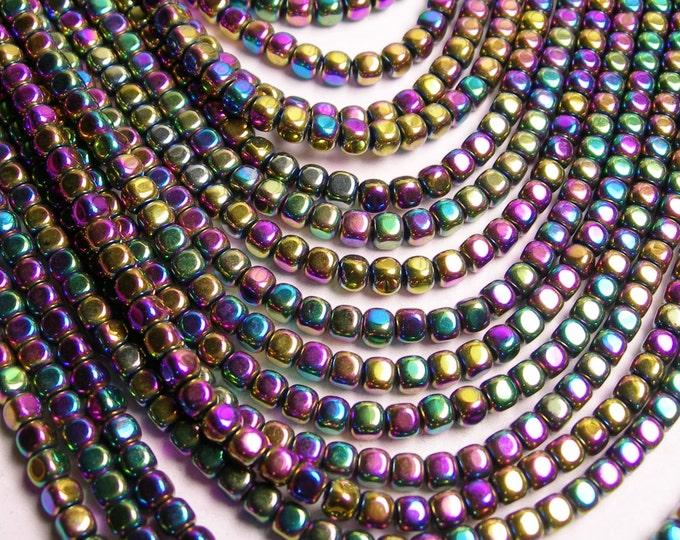 Hematite rainbow - 4mm rounded cube beads - full strand - 105 beads - A quality - PHG84
