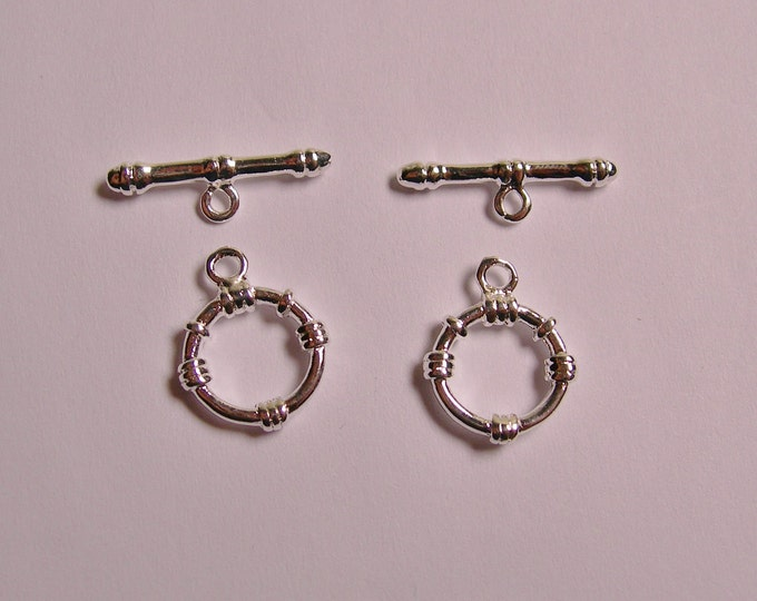 Silver Toggle Clasp hypoallergenic 5 pair toggle size 11mm