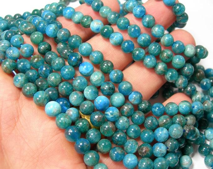 Blue Apatite - 6mm round beads - Full strand - 65 beads - Apatite -  RFG1293