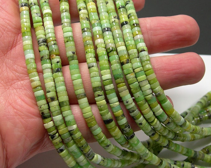 Chrysoprase - 4mm heishi - 188 beads - full strand - 4mmx2mm heishi rondelle - RFG2193