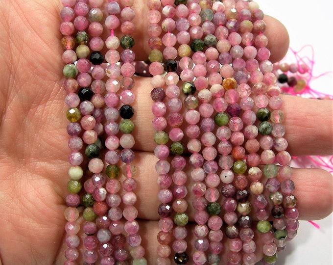 Tourmaline - 4mm micro faceted beads - full strand - 95 beads - tourmaline gemstone - PG259