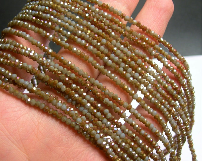Crystal - rondelle  faceted 3mm x  2mm beads - 195 beads - AA quality - grey and gold dual tone  - CAA2G124