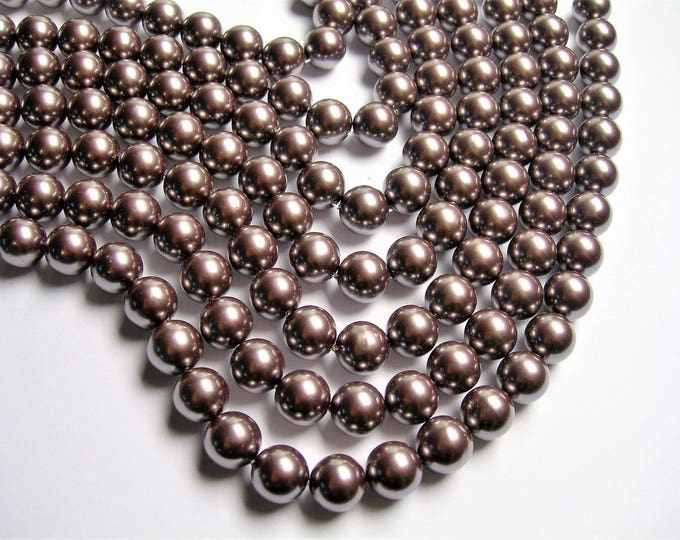 Pearl 10mm round  dark purple Pearl 1 full strand  33 beads - SPT50 - Shell pearl