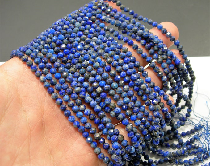 Lapis Lazuli - 4mm faceted round beads - full strand  99 beads - micro faceted Lapis Lazuli  - PG287