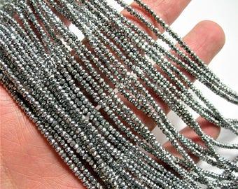 Crystal - rondelle  faceted 1mm x  2mm beads - 198 beads - silver metallic  - full strand - VSC23