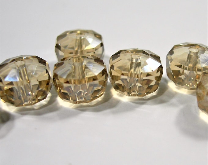 Crystal faceted rondelle wheel - 12 pcs - 7mm x 10mm - AA quality - Champagne - BCR21