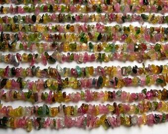 Tourmaline gemstone - chip stone - AA quality - full strand - multi color  tourmaline - PSC303