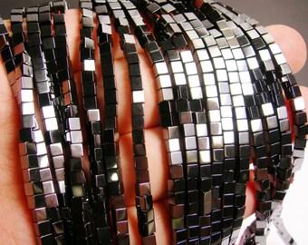 Hematite square 3x3mm - full strand - 120 beads - cube hematite -  AA quality - CHG31