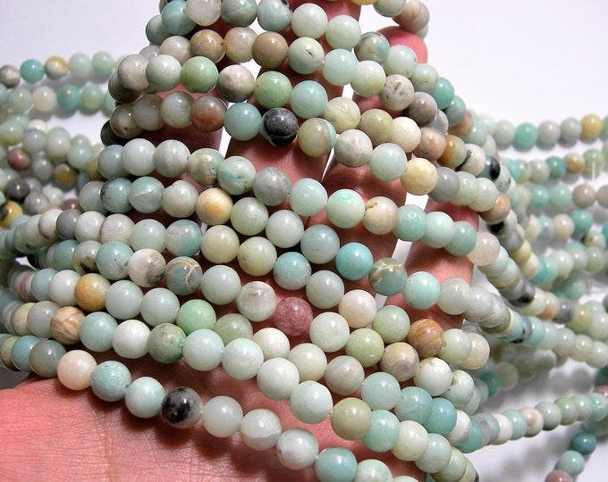 Amazonite - 8 mm round beads -1 full strand - 49 beads - Soft pastel mix - RFG1533