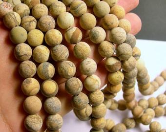 Picture Jasper Matte - 10 mm round beads -1 full strand - 39 beads - matte - RFG527