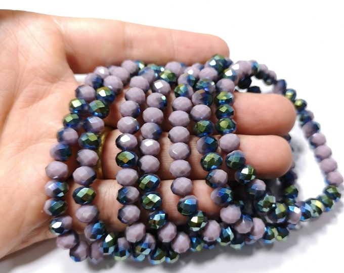 Crystal elastic - 30 beads - 8 mm - 1 set - Dual tone mystic purple - HSC9