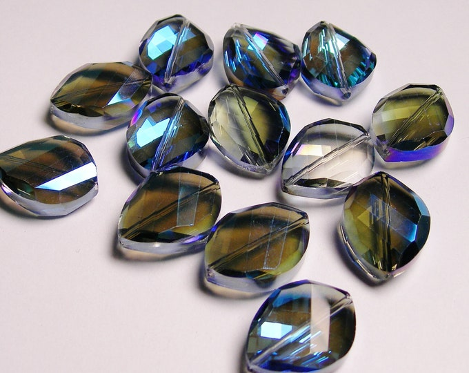 Crystal faceted oval beads 6 pcs 24mm by 18mm AA quality - sparkle dark blue