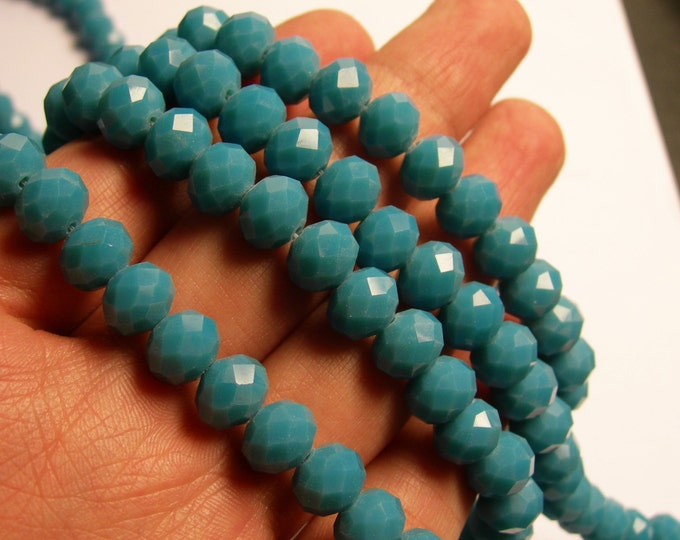 Crystal faceted rondelle - full strand 21 inch  -  72 pcs - 10mm x 7mm - AA quality - blue - CRV87