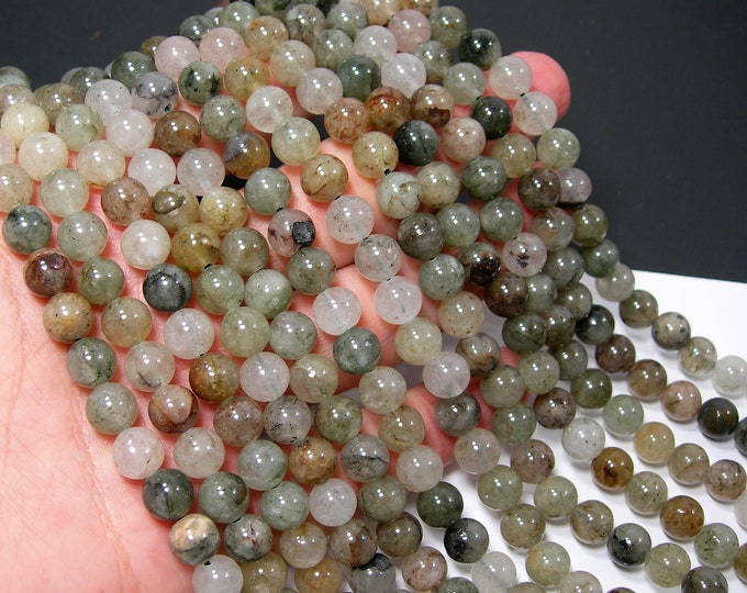 Chlorite Quartz  - 8mm round beads - full strand - 48 beads  -RFG2197