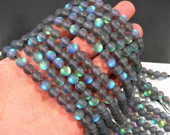Mystic aura quartz labrador grey - 8mm round - Holographic quartz - matte - 48 Beads - full strand - RFG1979