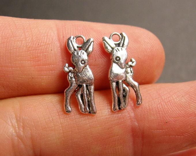 24 deer charms -  24 pcs - deer silver tone charms - ASA134