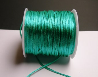 Satin Rattail Cord - knotting/beading cord -1.5mm - 65 meter - 213 foot - aqua green - SSC26