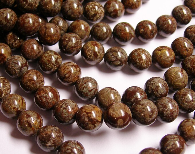 Obsidian 10 mm - 38 beads per strand - full strand - brown snowflake obsidian - A quality - RFG128