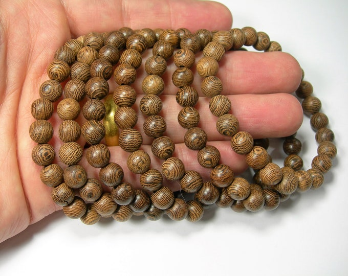 Wenge Wood -8mm(7.7mm) round beads - 24 beads - 1 set - A quality - HSG263