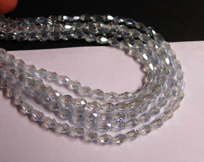 Faceted teardrop crystal beads - 100 pcs - 3mm x 5mm - sparkle glacier clear - CLGD4