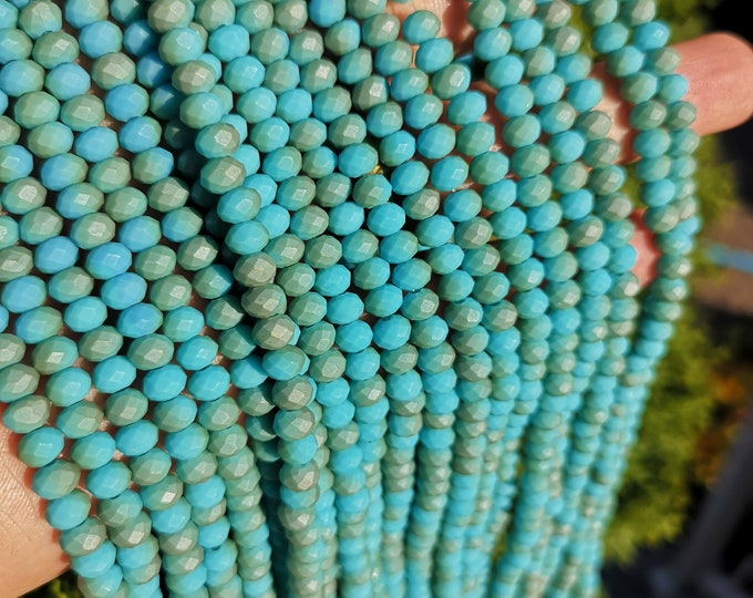 Crystal faceted rondelle - 97 pcs - 6 mm - full strand - Dual tone turquoise matte - GSH84