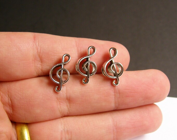 12 Treble Clef beads - music note - 12 pcs - big hole - bracelet beads - ASA43